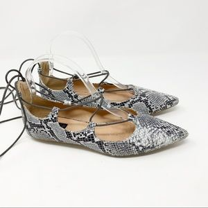 TOPSHOP SNAKE PRINT ANKLE TIE FLATS